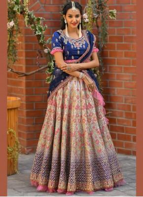Satin Zari Multi Colour Trendy Lehenga Choli