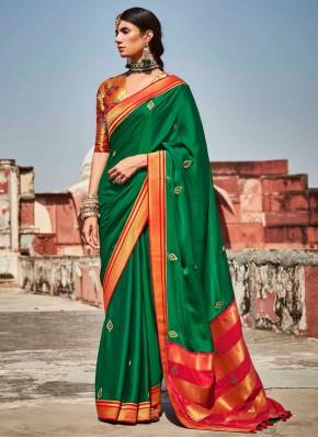 Savory Fancy Fabric Green Designer Saree