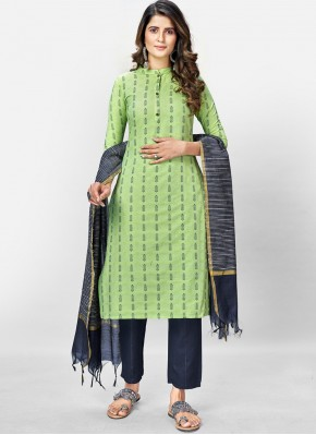 Savory Green Print Readymade Suit