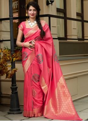 Savory Silk Pink Contemporary Saree