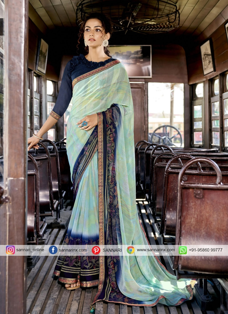 Scintillating Abstract Print Faux Georgette Printed Saree