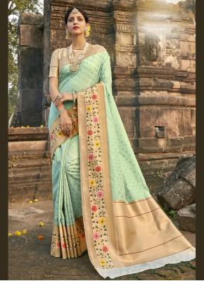 Scintillating Aqua Blue Mehndi Designer Traditional Saree