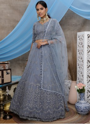 Scintillating Embroidered Net Trendy A Line Lehenga Choli