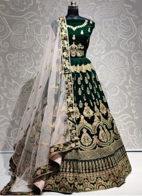 Scintillating Embroidered Velvet Green Bollywood Lehenga Choli