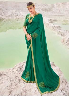Scintillating Lace Green Vichitra Silk Classic Saree
