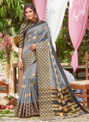 Scintillating Silk Grey Traditional Designer Saree
