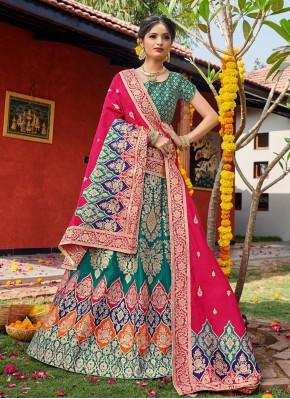 Sea Green Banarasi Silk Lehenga Choli