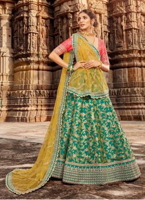 Sea Green Banarasi Silk Lehngha choli For Sangeet & Mehndi