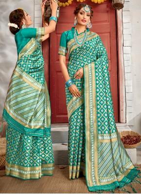 Sea Green Banarasi Silk Weaving Traditional Saree