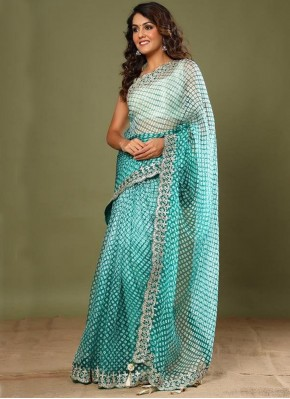 Sea Green Border Silk Designer Saree