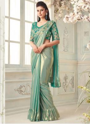 Sea Green Ceremonial Silk Classic Designer Saree