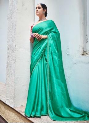 Sea Green Color Trendy Saree