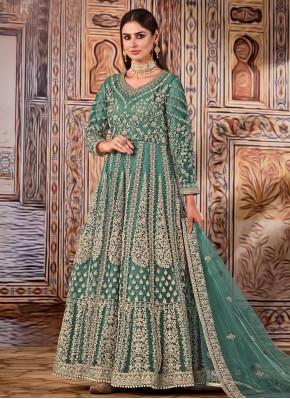 Sea Green Net Embroidered Floor Length Designer Suit