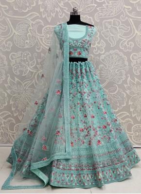 Sea Green Net Wedding Designer Lehenga Choli