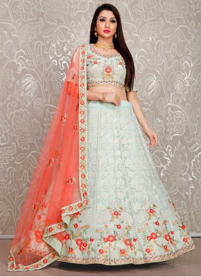 Sea Green Resham Georgette Designer Lehenga Choli