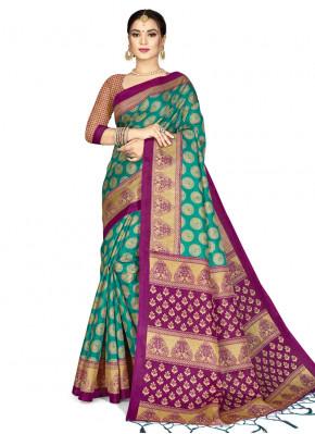 Sea Green Silk Weaving Designer Saree