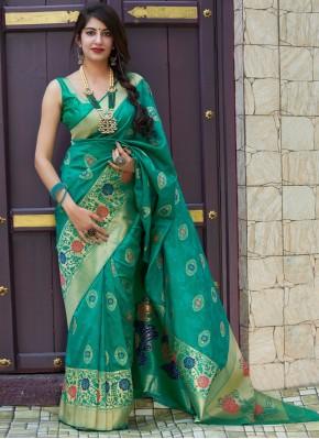 Sea Green Weaving Silk Designer Contemporary Style Saree