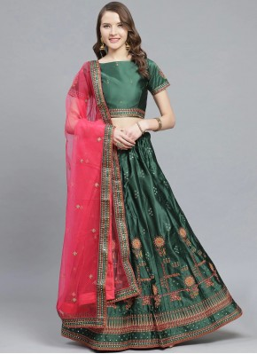 Sea Green Wedding Satin Bollywood Lehenga Choli
