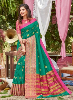 Sea Green Woven Traditional Designer Saree