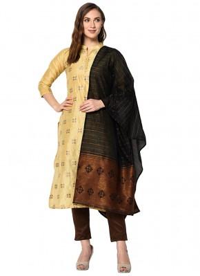 Sensational Cotton Beige Abstract Print Designer Pakistani Suit