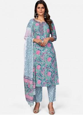 Sensational Cotton Multi Colour Print Readymade Suit