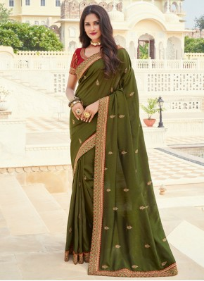 Sensational Embroidered Silk Designer Saree