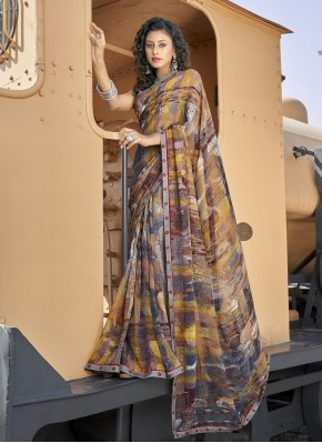 Sensational Faux Georgette Abstract Print Casual Saree