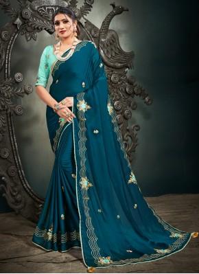 Sensational Satin Blue Embroidered Designer Saree