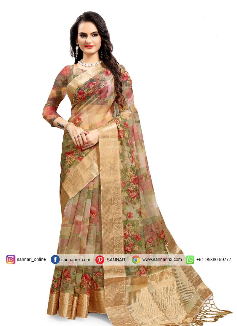 Sensible Beige Printed Saree