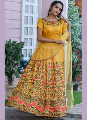 Sensible Embroidered Silk Yellow Trendy Gown