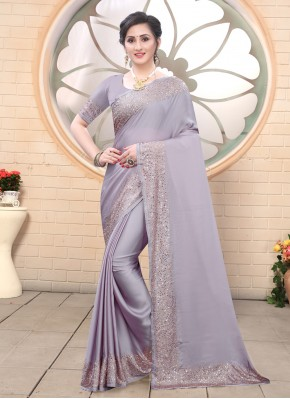 Sensible Lavender Satin Classic Saree