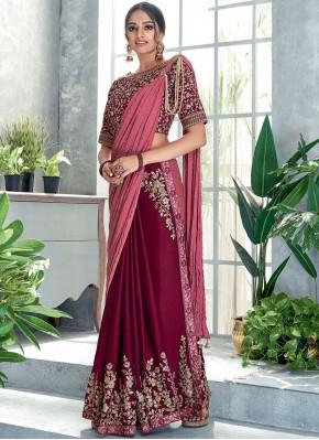 Sensible Maroon Zari Silk Classic Designer Saree