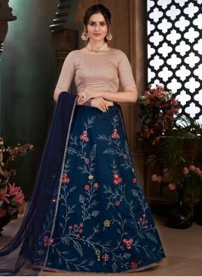 Sensible Navy Blue Embroidered Art Silk Lehenga Choli