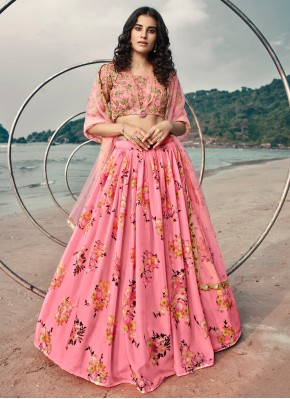 Sensible Pink Sequins Organza Lehenga Choli