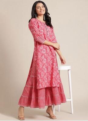 Sensible Print Blended Cotton Party Wear Kurti