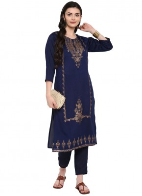 Sensible Print Blue Poly Silk Party Wear Kurti