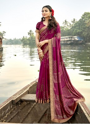 Sensible Vichitra Silk Magenta Foil Print Classic Saree