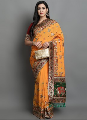 Sensible Yellow Patola Print Silk Designer Traditional Saree