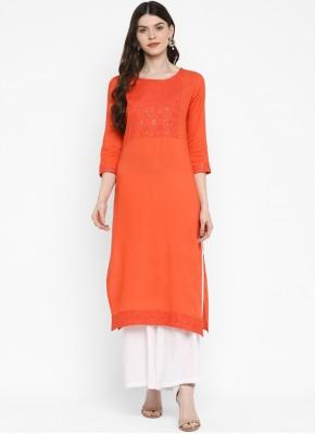 Sequins Cotton Party Wear Kurti in Orange