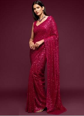 Sequins Faux Georgette Classic Designer Saree in Rani