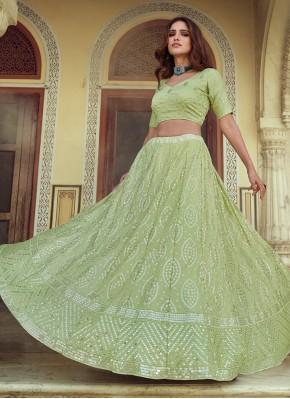 Sequins Faux Georgette Lehenga Choli in Green