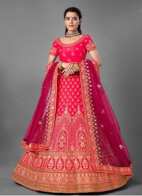 Sequins Satin Designer Lehenga Choli in Pink