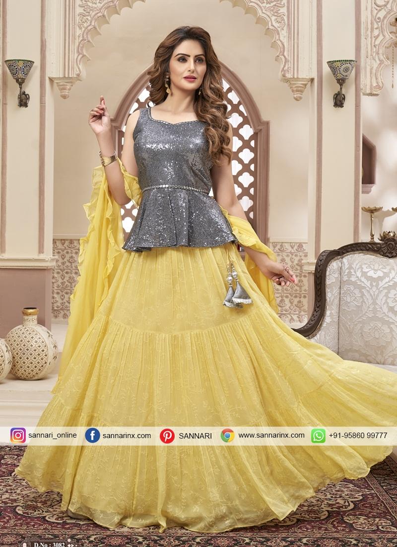 Sequins Work Chiffon Bollywood Lehenga Choli in