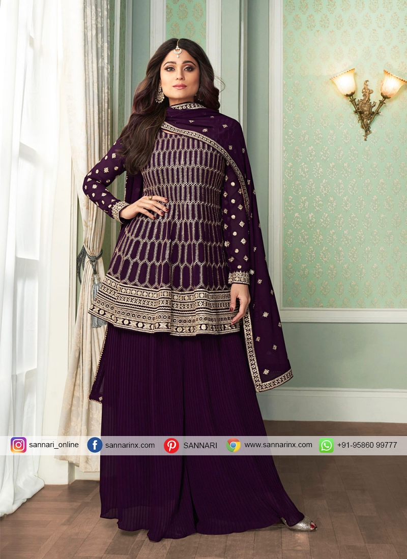 Shamita Shetty Designer Palazzo Salwar Kameez