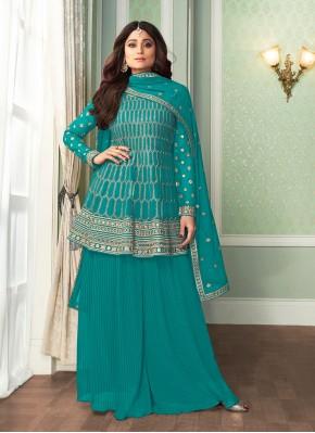 Shamita Shetty Embroidered Designer Palazzo Suit