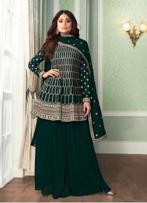 Shamita Shetty Embroidered Green Designer Palazzo Salwar Kameez