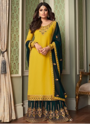 Shamita Shetty Embroidered Yellow Faux Georgette Designer Palazzo Suit