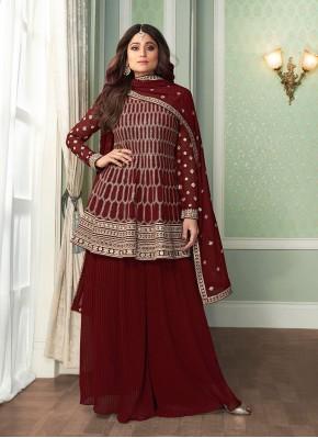 Shamita Shetty Faux Georgette Designer Palazzo Salwar Suit