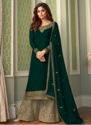 Shamita Shetty Faux Georgette Embroidered Designer Palazzo Salwar Suit