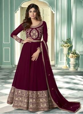 Shamita Shetty Faux Georgette Embroidered Magenta Designer Suit